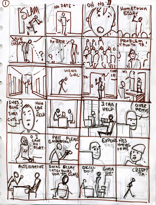 Stick figure layouts of Carabella story to figure out comic book storytelling