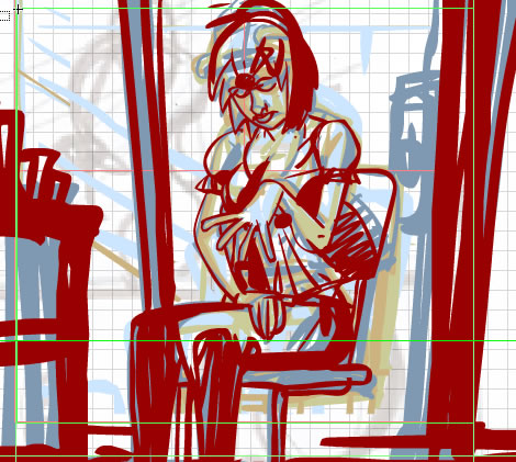 A panel of Cara sitting, feeling bad