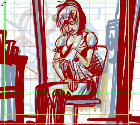 A panel of Cara sitting, feeling bad