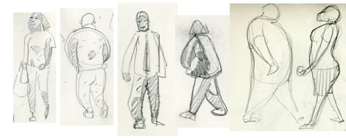 Sketchbook drawing of figures