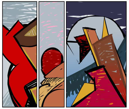 3 panels of an abstract comic