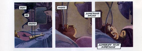 three panels of a decadent comic book, the Score