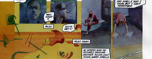 Storytelling with abstraction in comics, panels from the Score