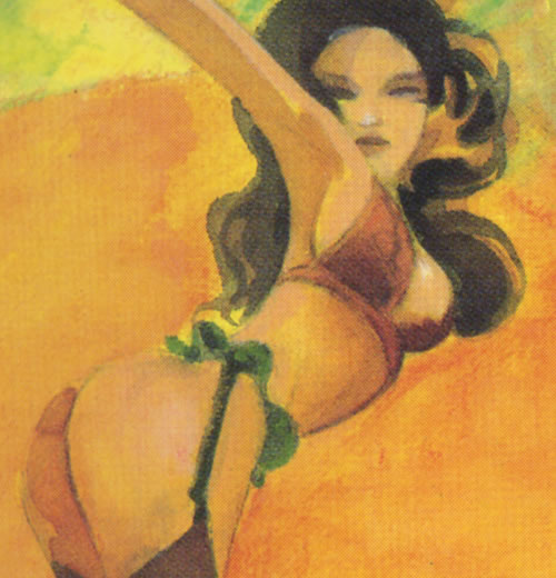 The background hot babe from the cover of the Score #1 by Jones and Badger